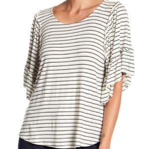 Bobeau Stripe Flounce Sleeve Shirt
